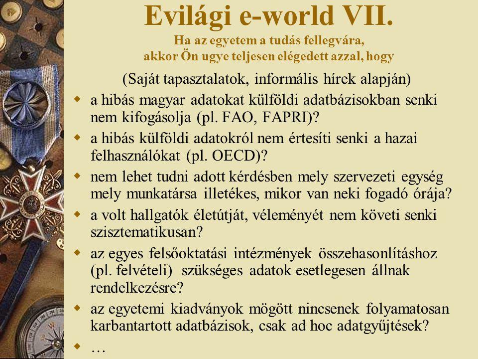 Evilági e-world VII. Ha az egyetem a tudás fellegvára, akkor Ön ugye teljesen elégedett azzal, hogy (Saját tapasztalatok, informális hírek alapján) 