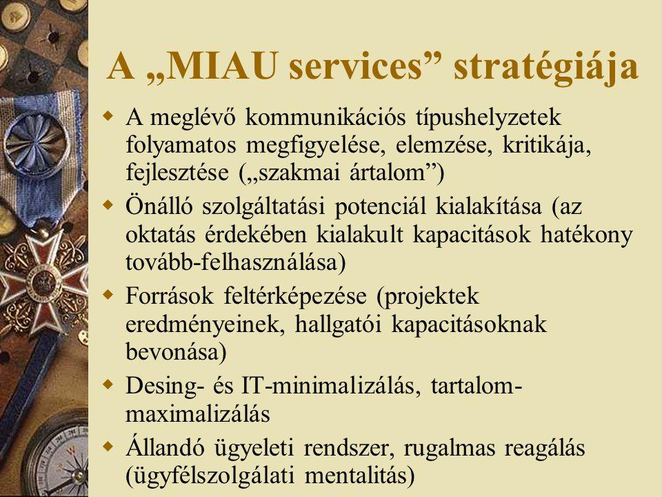 """A """"MIAU services stratégiája  A meglévő kommunikációs típushelyzetek folyamatos megfigyelése, elemzése, kritikája, fejlesztése (""""szakmai ártalom )  Önálló szolgáltatási potenciál kialakítása (az oktatás érdekében kialakult kapacitások hatékony tovább-felhasználása)  Források feltérképezése (projektek eredményeinek, hallgatói kapacitásoknak bevonása)  Desing- és IT-minimalizálás, tartalom- maximalizálás  Állandó ügyeleti rendszer, rugalmas reagálás (ügyfélszolgálati mentalitás)"""