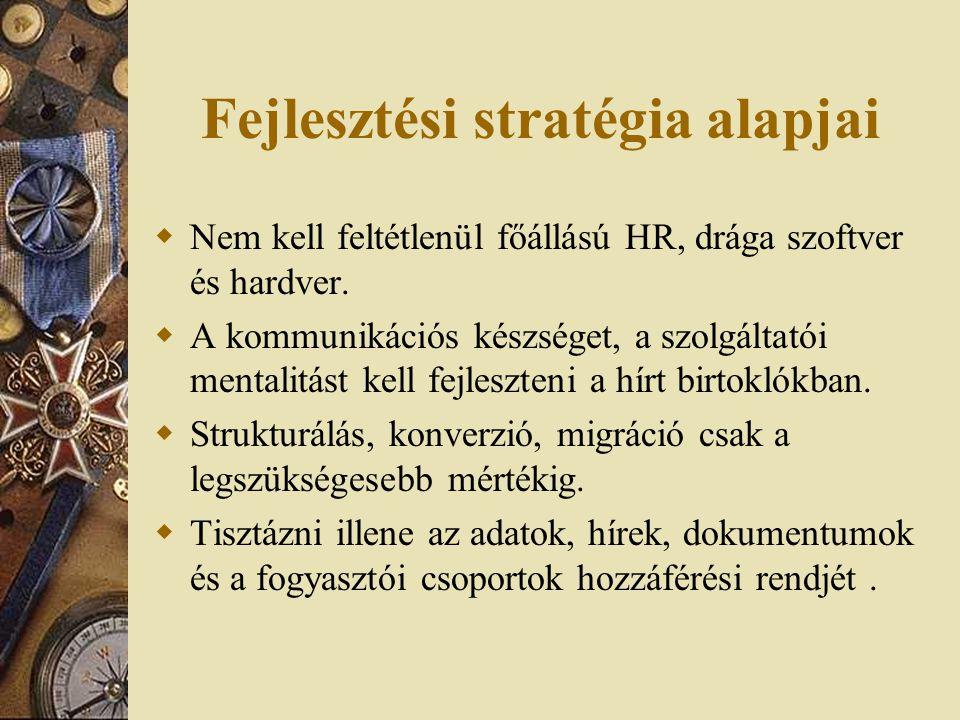 Fejlesztési stratégia alapjai  Nem kell feltétlenül főállású HR, drága szoftver és hardver.