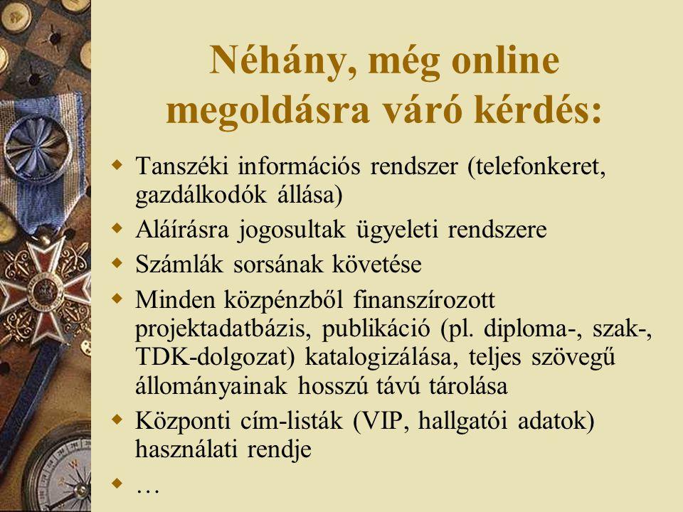 Néhány, még online megoldásra váró kérdés:  Tanszéki információs rendszer (telefonkeret, gazdálkodók állása)  Aláírásra jogosultak ügyeleti rendszere  Számlák sorsának követése  Minden közpénzből finanszírozott projektadatbázis, publikáció (pl.
