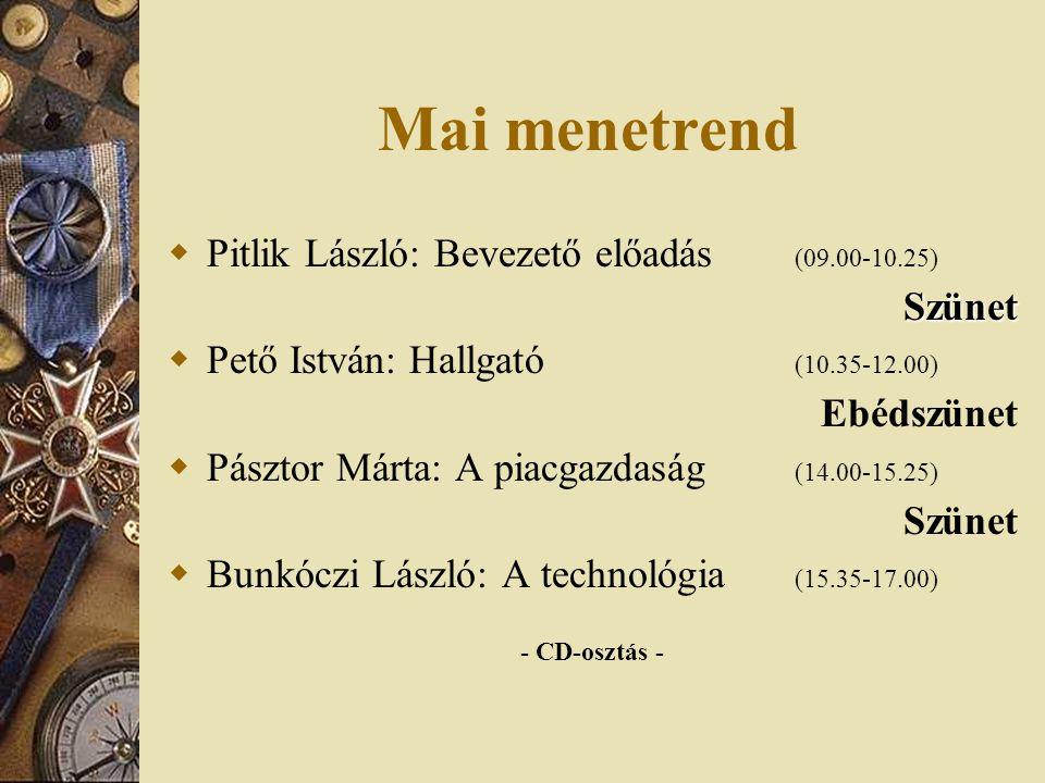 Mai menetrend  Pitlik László: Bevezető előadás (09.00-10.25)Szünet  Pető István: Hallgató (10.35-12.00) Ebédszünet  Pásztor Márta: A piacgazdaság (14.00-15.25) Szünet  Bunkóczi László: A technológia (15.35-17.00) - CD-osztás -
