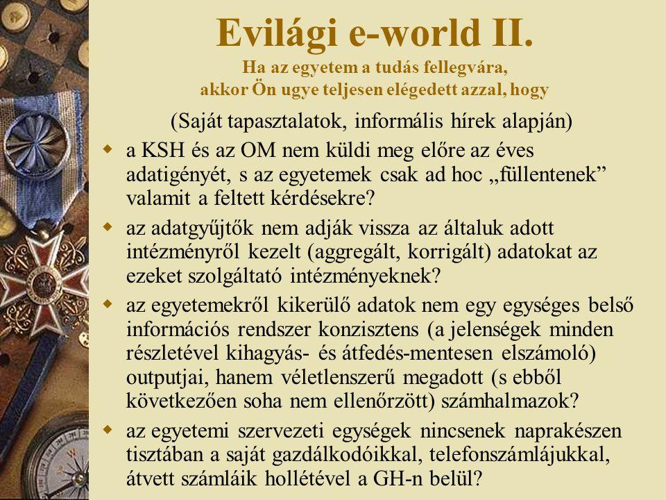 Evilági e-world II. Ha az egyetem a tudás fellegvára, akkor Ön ugye teljesen elégedett azzal, hogy (Saját tapasztalatok, informális hírek alapján)  a