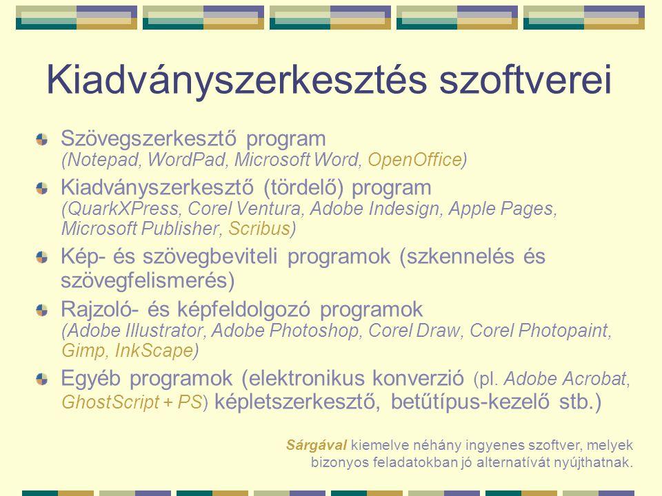 Kiadványszerkesztés szoftverei Szövegszerkesztő program (Notepad, WordPad, Microsoft Word, OpenOffice) Kiadványszerkesztő (tördelő) program (QuarkXPre
