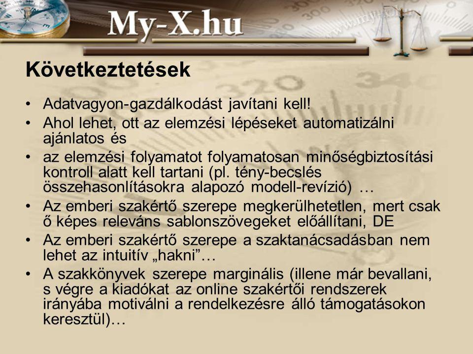 INNOCSEKK 156/2006 Összefoglalás Folyamatosan vizsgálni kell, üzemi és társadalmi szinten megéri-e a minőségileg korrekt, anonim és közhasznú adatvagyonok kialakítása.
