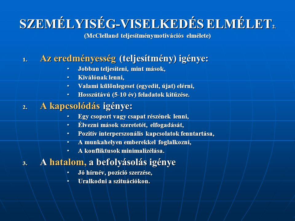 SZEMÉLYISÉG-VISELKEDÉS ELMÉLET 2. (McClelland teljesítménymotivációs elmélete) 1. Az eredményesség (teljesítmény) igénye: Jobban teljesíteni, mint más