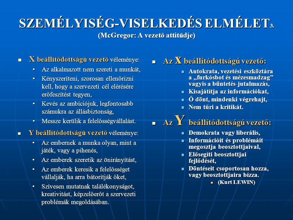 SZEMÉLYISÉG-VISELKEDÉS ELMÉLET 3.