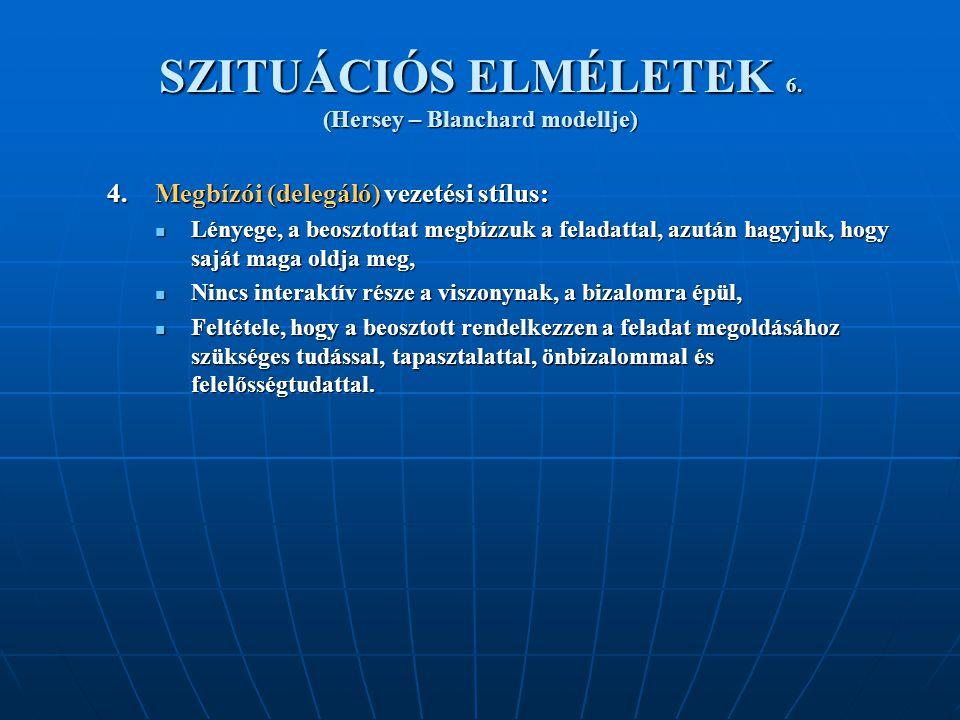 SZITUÁCIÓS ELMÉLETEK 6.(Hersey – Blanchard modellje) 4.