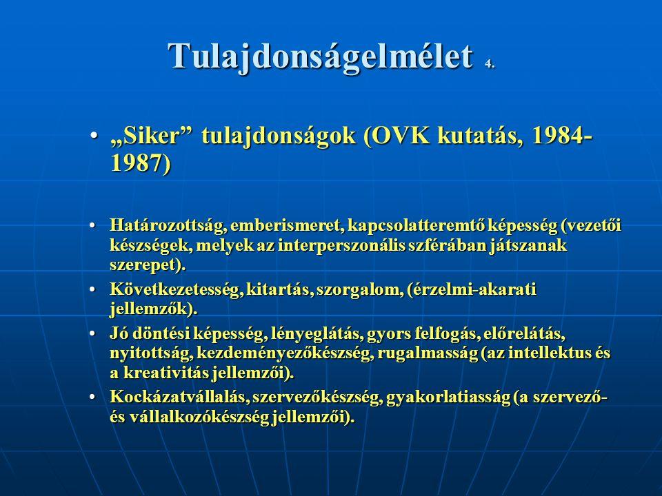 """Tulajdonságelmélet 4. """"Siker"""" tulajdonságok (OVK kutatás, 1984- 1987) Határozottság, emberismeret, kapcsolatteremtő képesség (vezetői készségek, melye"""