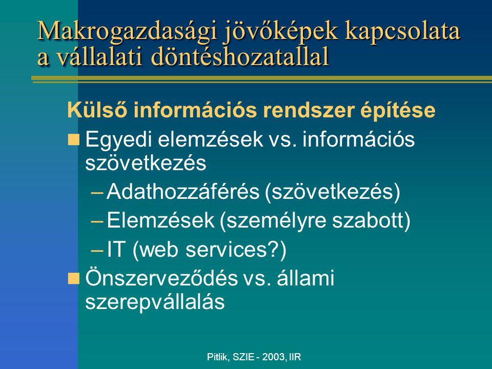 Pitlik, SZIE - 2003, IIR Makrogazdasági jövőképek kapcsolata a vállalati döntéshozatallal Külső információs rendszer építése Egyedi elemzések vs. info