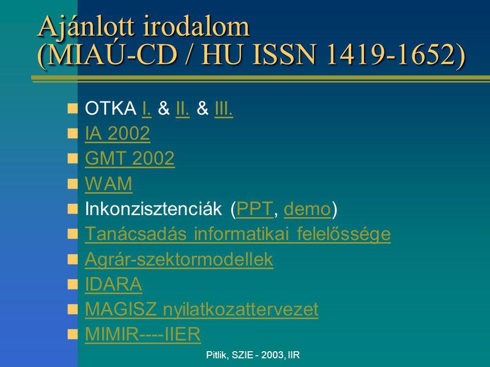 Pitlik, SZIE - 2003, IIR Ajánlott irodalom (MIAÚ-CD / HU ISSN 1419-1652) OTKA I. & II. & III.I.II.III. IA 2002 GMT 2002 GMT 2002 WAM Inkonzisztenciák