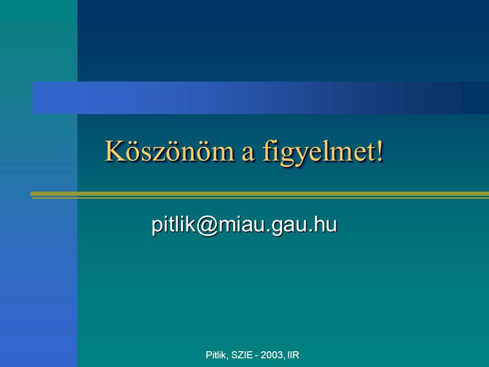 Pitlik, SZIE - 2003, IIR Köszönöm a figyelmet! pitlik@miau.gau.hu