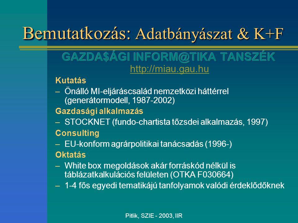Pitlik, SZIE - 2003, IIR Bemutatkozás: Adatbányászat & K+F
