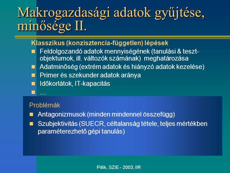 Pitlik, SZIE - 2003, IIR Makrogazdasági adatok gyűjtése, minősége II. Klasszikus (konzisztencia-független) lépések Feldolgozandó adatok mennyiségének