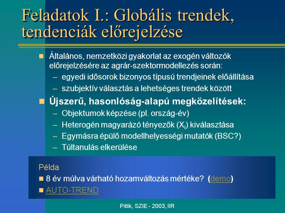 Pitlik, SZIE - 2003, IIR Feladatok I.: Globális trendek, tendenciák előrejelzése Általános, nemzetközi gyakorlat az exogén változók előrejelzésére az