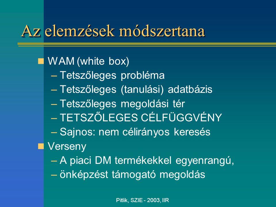 Pitlik, SZIE - 2003, IIR Az elemzések módszertana WAM (white box) –Tetszőleges probléma –Tetszőleges (tanulási) adatbázis –Tetszőleges megoldási tér –