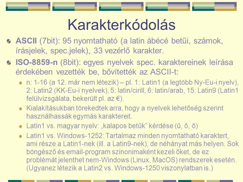 Karakterkódolás ASCII (7bit): 95 nyomtatható (a latin ábécé betűi, számok, írásjelek, spec.jelek), 33 vezérlő karakter. ISO-8859-n (8bit): egyes nyelv