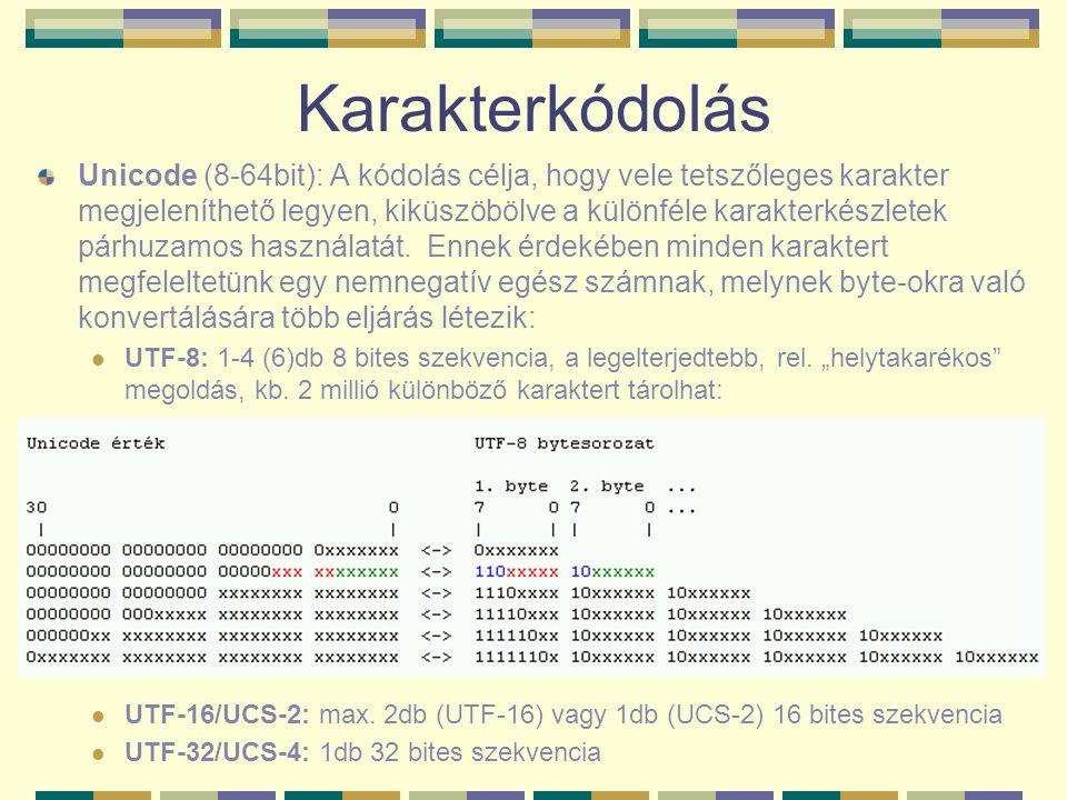 Karakterkódolás Unicode (8-64bit): A kódolás célja, hogy vele tetszőleges karakter megjeleníthető legyen, kiküszöbölve a különféle karakterkészletek p
