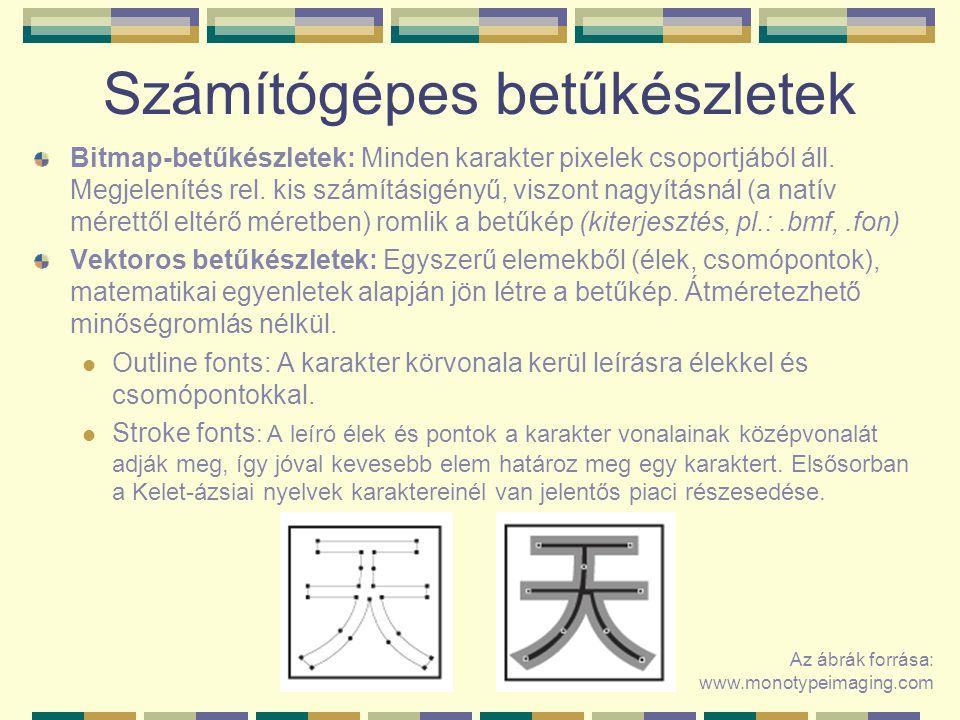 Számítógépes betűkészletek Bitmap-betűkészletek: Minden karakter pixelek csoportjából áll. Megjelenítés rel. kis számításigényű, viszont nagyításnál (