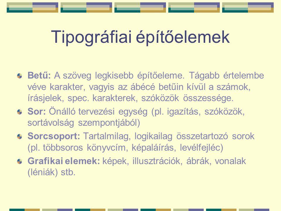 Tipográfiai építőelemek Betű: A szöveg legkisebb építőeleme. Tágabb értelembe véve karakter, vagyis az ábécé betűin kívül a számok, írásjelek, spec. k
