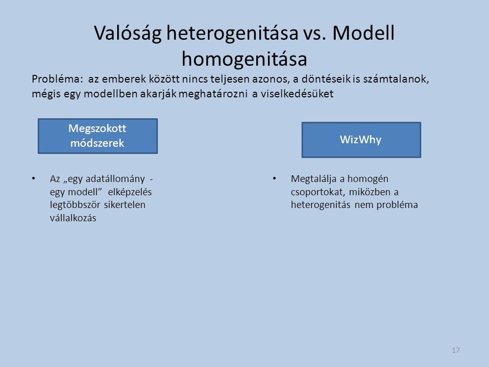 """Valóság heterogenitása vs. Modell homogenitása Az """"egy adatállomány - egy modell"""" elképzelés legtöbbször sikertelen vállalkozás Megtalálja a homogén c"""