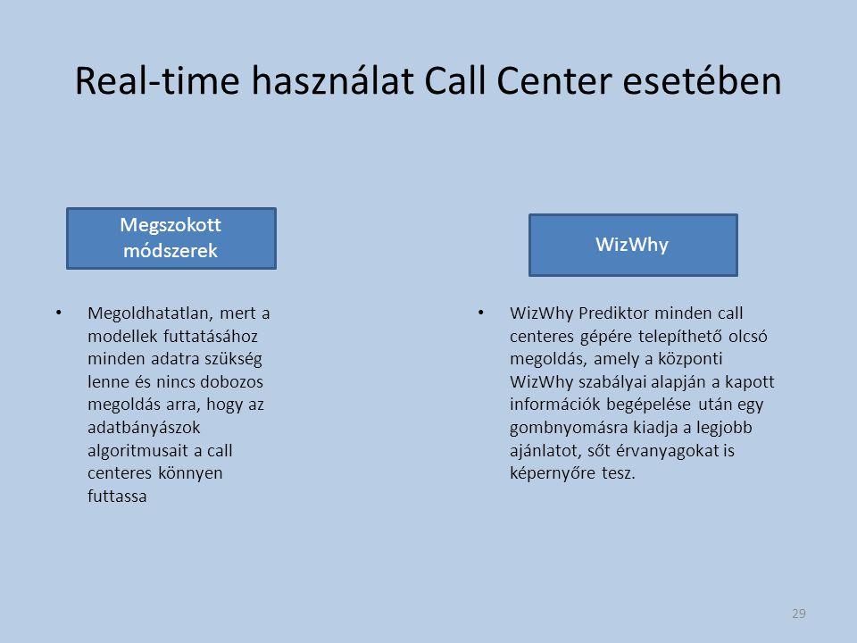 Real-time használat Call Center esetében Megoldhatatlan, mert a modellek futtatásához minden adatra szükség lenne és nincs dobozos megoldás arra, hogy az adatbányászok algoritmusait a call centeres könnyen futtassa WizWhy Prediktor minden call centeres gépére telepíthető olcsó megoldás, amely a központi WizWhy szabályai alapján a kapott információk begépelése után egy gombnyomásra kiadja a legjobb ajánlatot, sőt érvanyagokat is képernyőre tesz.