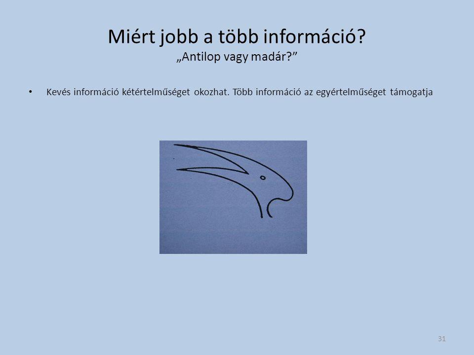 """Miért jobb a több információ? """"Antilop vagy madár?"""" Kevés információ kétértelműséget okozhat. Több információ az egyértelműséget támogatja 31"""