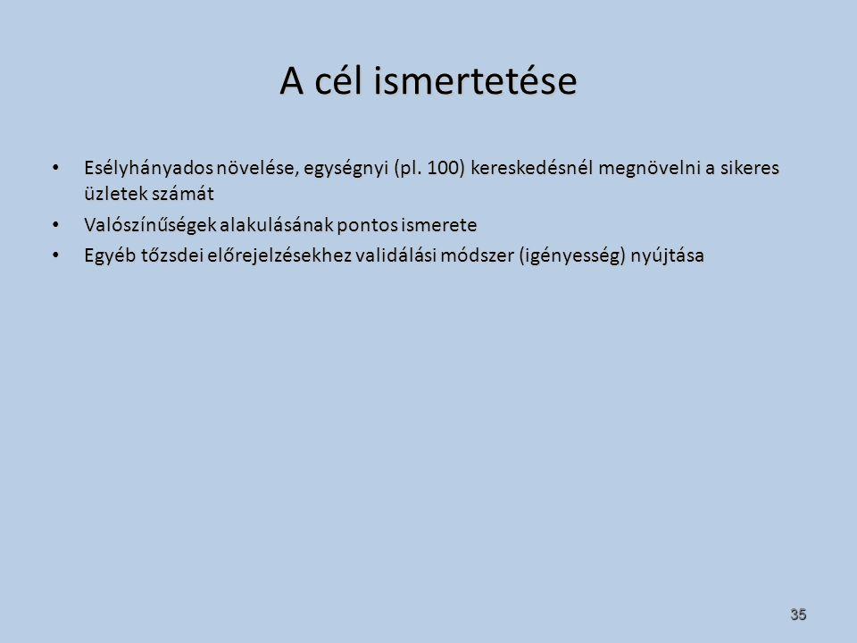 35 A cél ismertetése Esélyhányados növelése, egységnyi (pl.