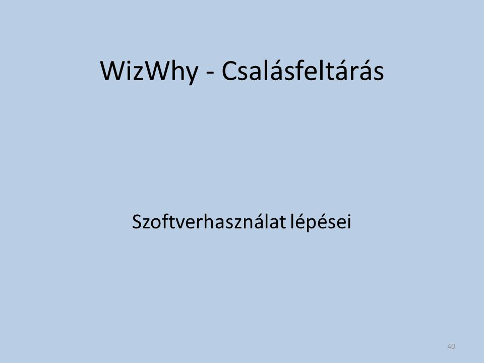 WizWhy - Csalásfeltárás Szoftverhasználat lépései 40
