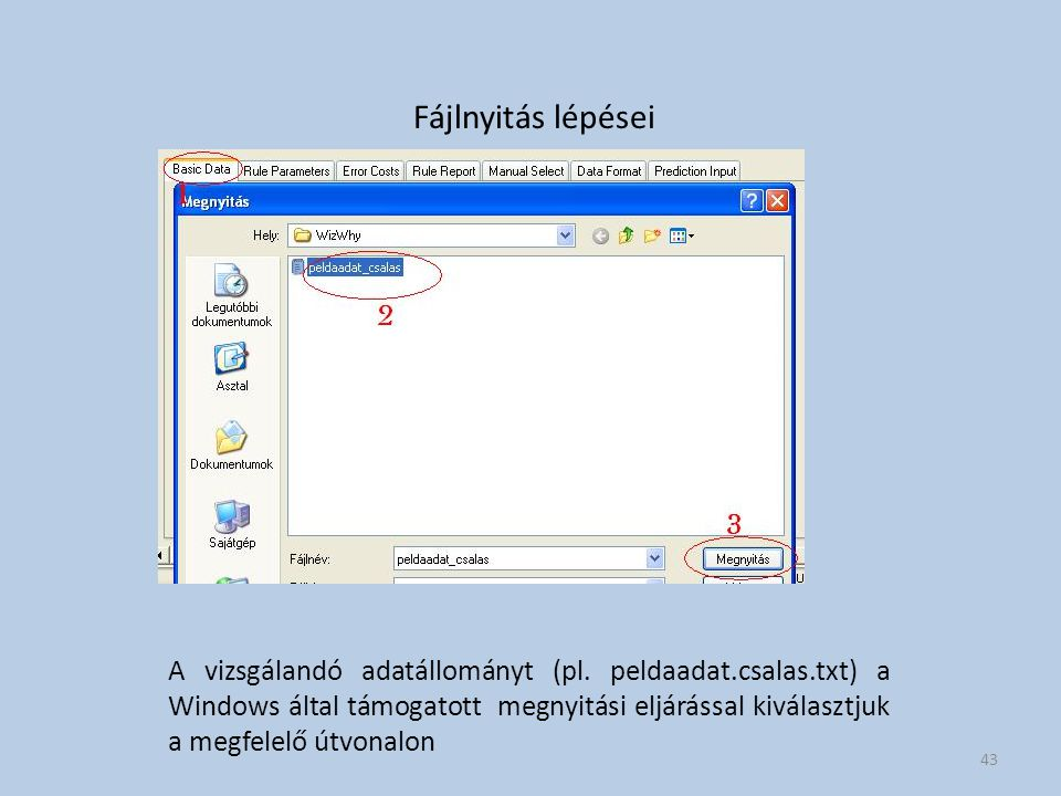 Fájlnyitás lépései A vizsgálandó adatállományt (pl. peldaadat.csalas.txt) a Windows által támogatott megnyitási eljárással kiválasztjuk a megfelelő út