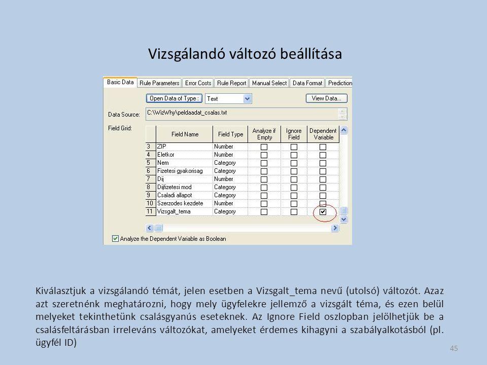 Vizsgálandó változó beállítása Kiválasztjuk a vizsgálandó témát, jelen esetben a Vizsgalt_tema nevű (utolsó) változót.