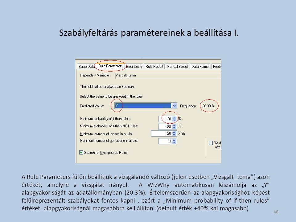 """Szabályfeltárás paramétereinek a beállítása I. A Rule Parameters fülön beállítjuk a vizsgálandó változó (jelen esetben """"Vizsgalt_tema"""") azon értékét,"""