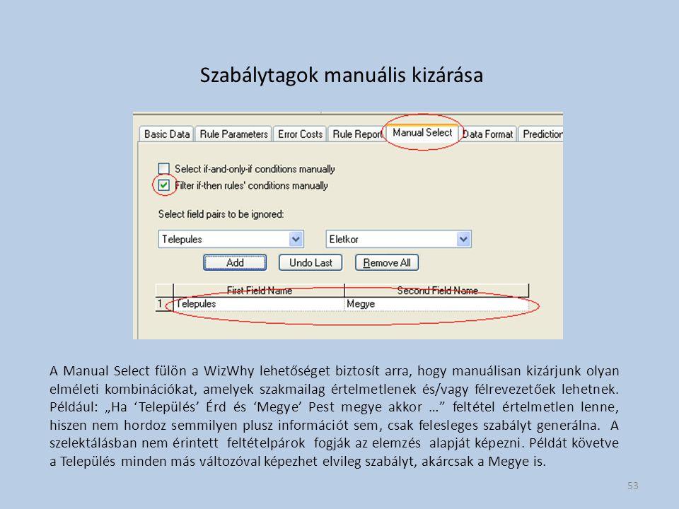 Szabálytagok manuális kizárása A Manual Select fülön a WizWhy lehetőséget biztosít arra, hogy manuálisan kizárjunk olyan elméleti kombinációkat, amelyek szakmailag értelmetlenek és/vagy félrevezetőek lehetnek.