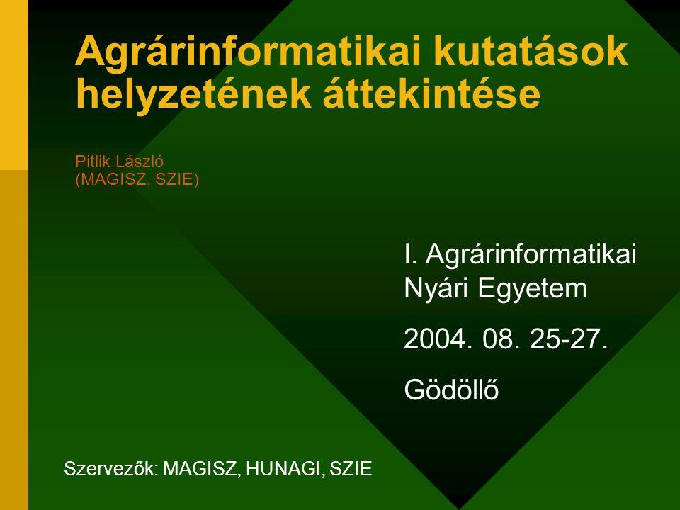 Áttekintés Definíciókísérletek Az agrárinformatikai kutatások –általános és –alkalmazásorientált részterületei Példák Jó-jobb-legjobb… Zárógondolatok Kapcsolódó dokumentumok Cél: katalizálni a leendő kutatókban a valódi, nemzetközi szinten is versenyképes problémák felismerését…