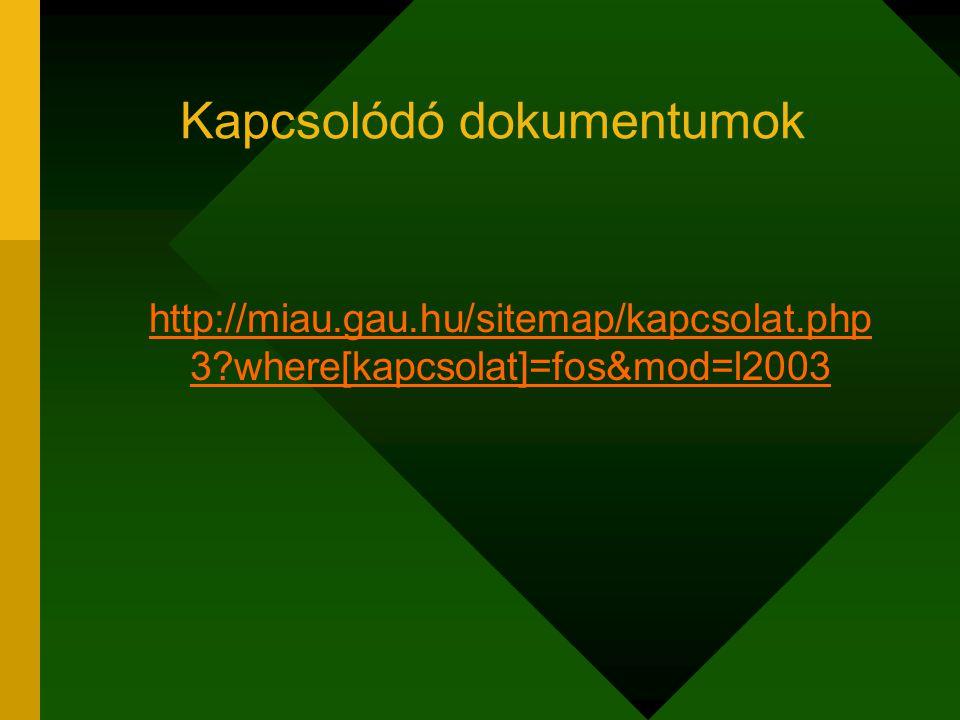 Kapcsolódó dokumentumok http://miau.gau.hu/sitemap/kapcsolat.php 3 where[kapcsolat]=fos&mod=l2003 http://miau.gau.hu/sitemap/kapcsolat.php 3 where[kapcsolat]=fos&mod=l2003