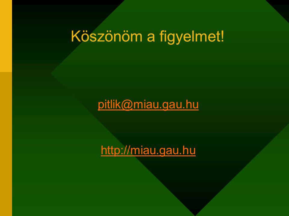 Köszönöm a figyelmet! pitlik@miau.gau.hu http://miau.gau.hu