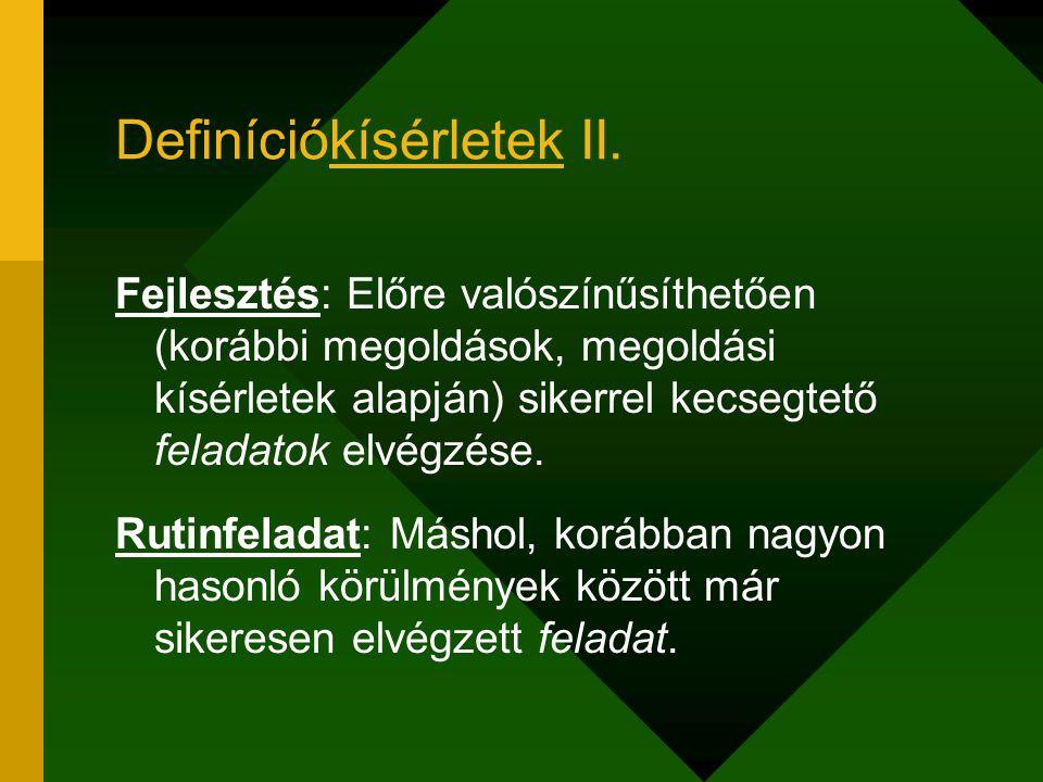 Definíciókísérletek III.