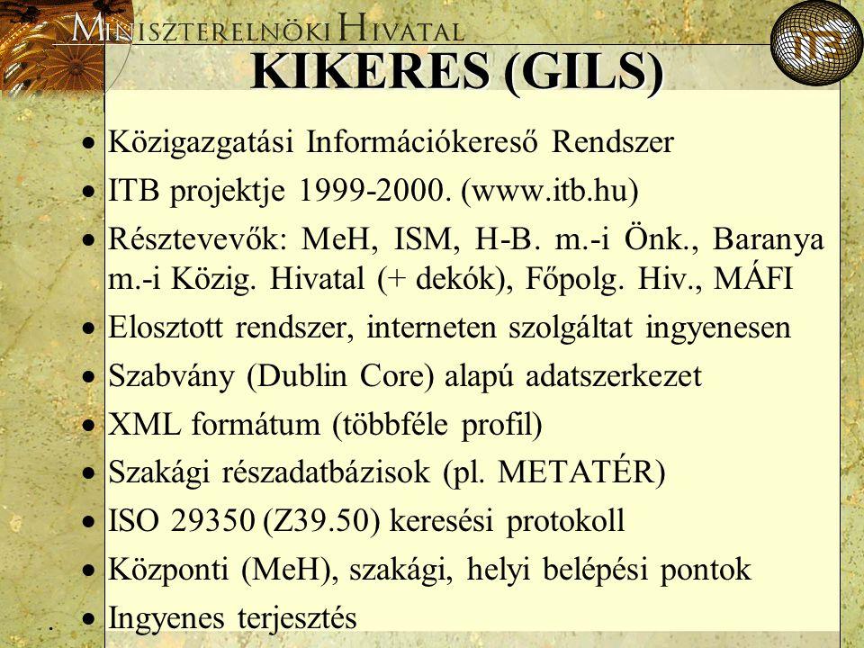 . KIKERES (GILS)  Közigazgatási Információkereső Rendszer  ITB projektje 1999-2000. (www.itb.hu)  Résztevevők: MeH, ISM, H-B. m.-i Önk., Baranya m.