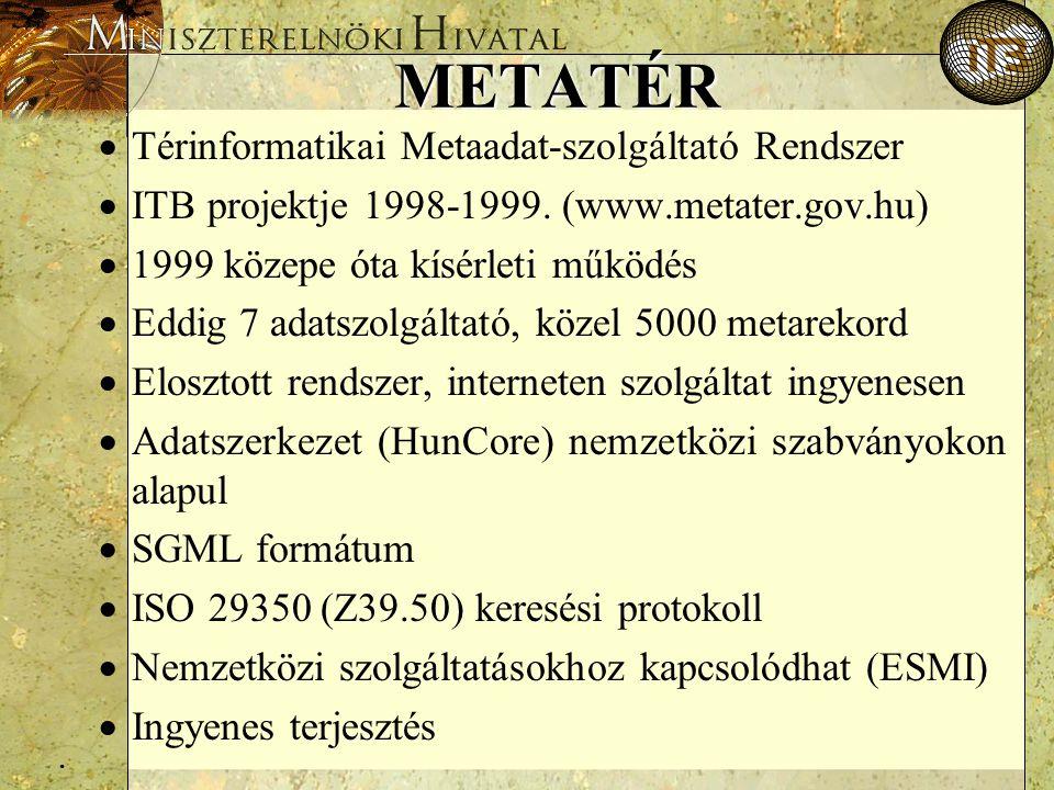 . METATÉR  Térinformatikai Metaadat-szolgáltató Rendszer  ITB projektje 1998-1999. (www.metater.gov.hu)  1999 közepe óta kísérleti működés  Eddig