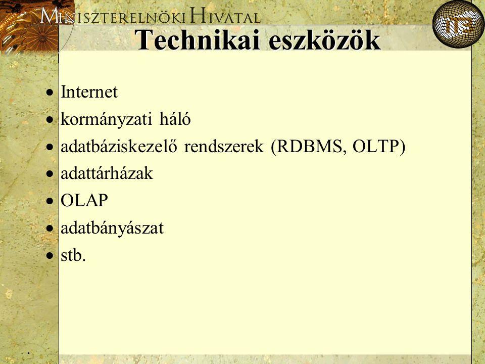 . Technikai eszközök  Internet  kormányzati háló  adatbáziskezelő rendszerek (RDBMS, OLTP)  adattárházak  OLAP  adatbányászat  stb.