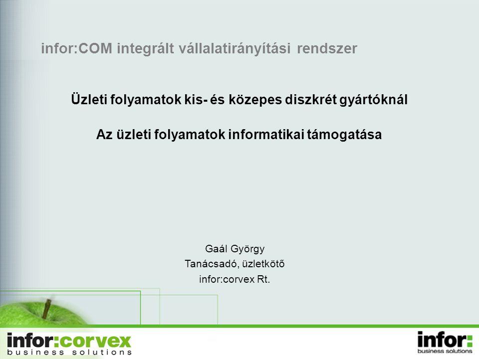 infor:COM integrált vállalatirányítási rendszer Üzleti folyamatok kis- és közepes diszkrét gyártóknál Az üzleti folyamatok informatikai támogatása Gaá