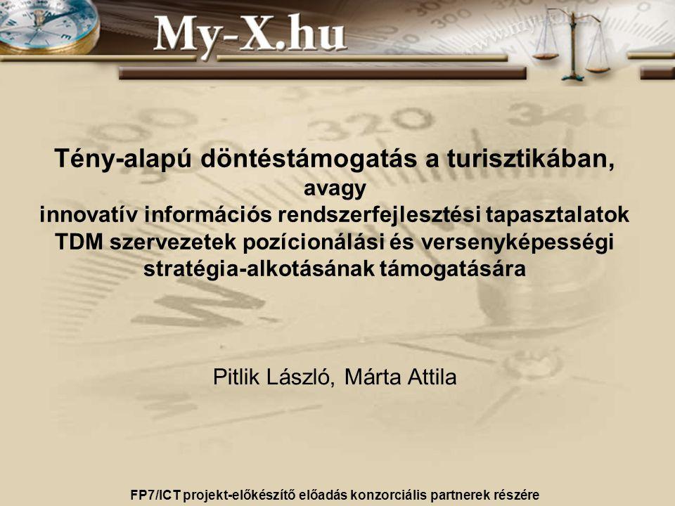 Tény-alapú döntéstámogatás a turisztikában, avagy innovatív információs rendszerfejlesztési tapasztalatok TDM szervezetek pozícionálási és versenyképességi stratégia-alkotásának támogatására Pitlik László, Márta Attila FP7/ICT projekt-előkészítő előadás konzorciális partnerek részére 2011.