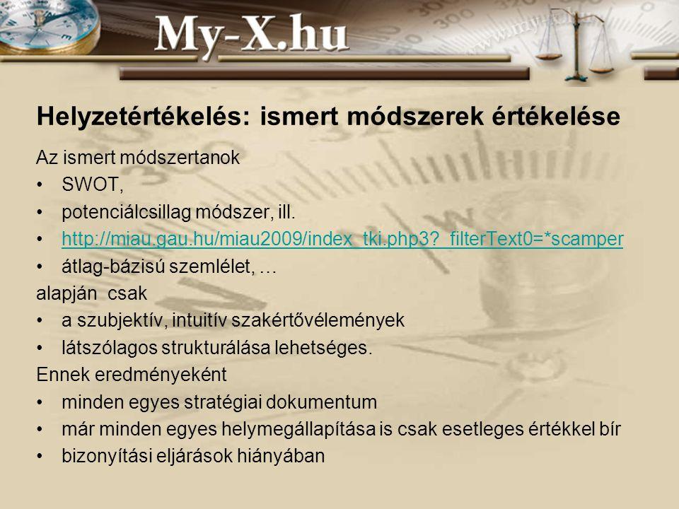 INNOCSEKK 156/2006 Helyzetértékelés: ismert módszerek értékelése Az ismert módszertanok SWOT, potenciálcsillag módszer, ill.