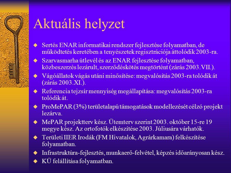 További feladatok  Állatnyilvántartások fejlesztésének lezárása –juh-kecske ENAR zárás 2003.XI.