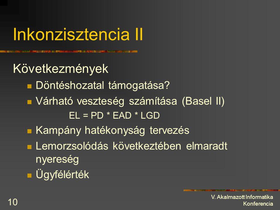 V. Akalmazott Informatika Konferencia 10 Inkonzisztencia II Következmények Döntéshozatal támogatása? Várható veszteség számítása (Basel II) EL = PD *