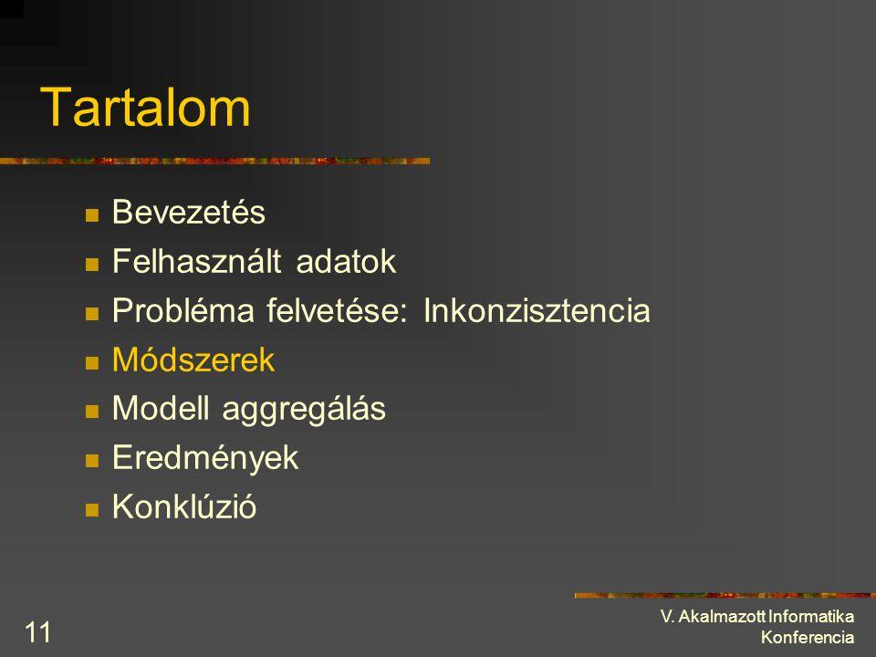 V. Akalmazott Informatika Konferencia 11 Tartalom Bevezetés Felhasznált adatok Probléma felvetése: Inkonzisztencia Módszerek Modell aggregálás Eredmén