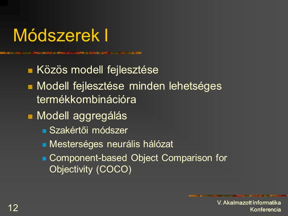 V. Akalmazott Informatika Konferencia 12 Módszerek I Közös modell fejlesztése Modell fejlesztése minden lehetséges termékkombinációra Modell aggregálá