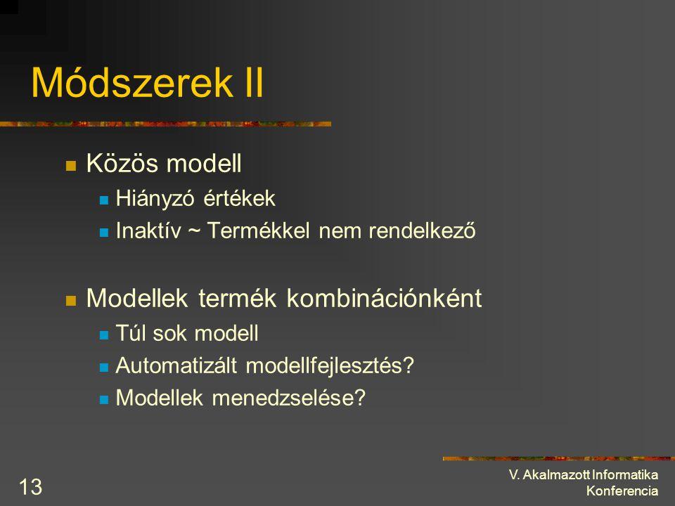 V. Akalmazott Informatika Konferencia 13 Módszerek II Közös modell Hiányzó értékek Inaktív ~ Termékkel nem rendelkező Modellek termék kombinációnként