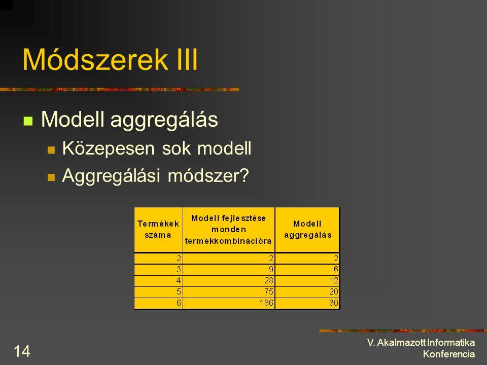 V. Akalmazott Informatika Konferencia 14 Módszerek III Modell aggregálás Közepesen sok modell Aggregálási módszer?