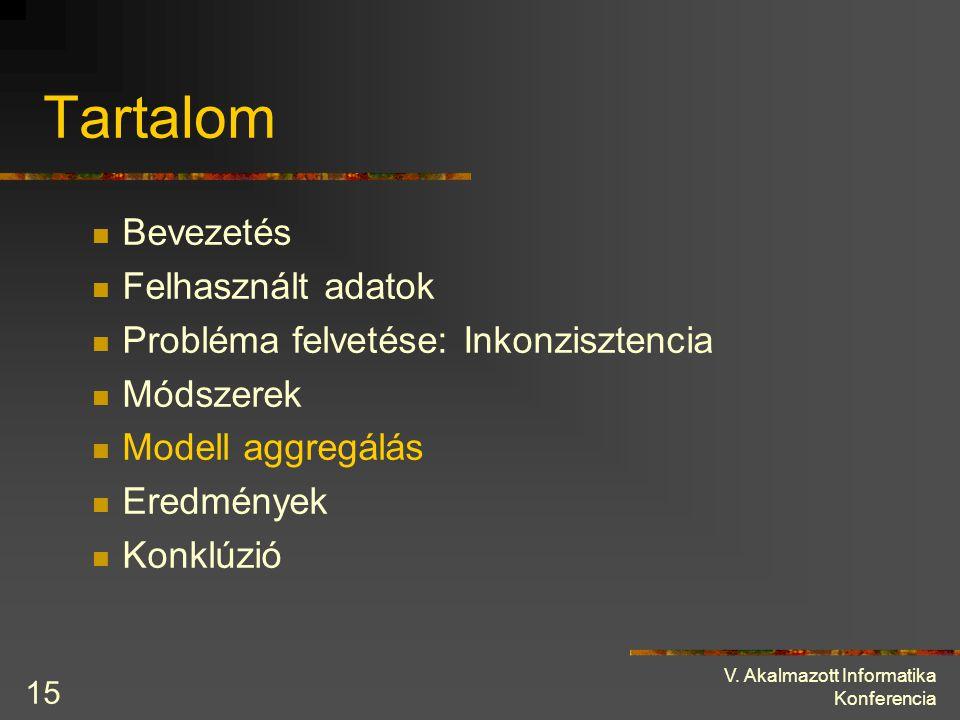 V. Akalmazott Informatika Konferencia 15 Tartalom Bevezetés Felhasznált adatok Probléma felvetése: Inkonzisztencia Módszerek Modell aggregálás Eredmén