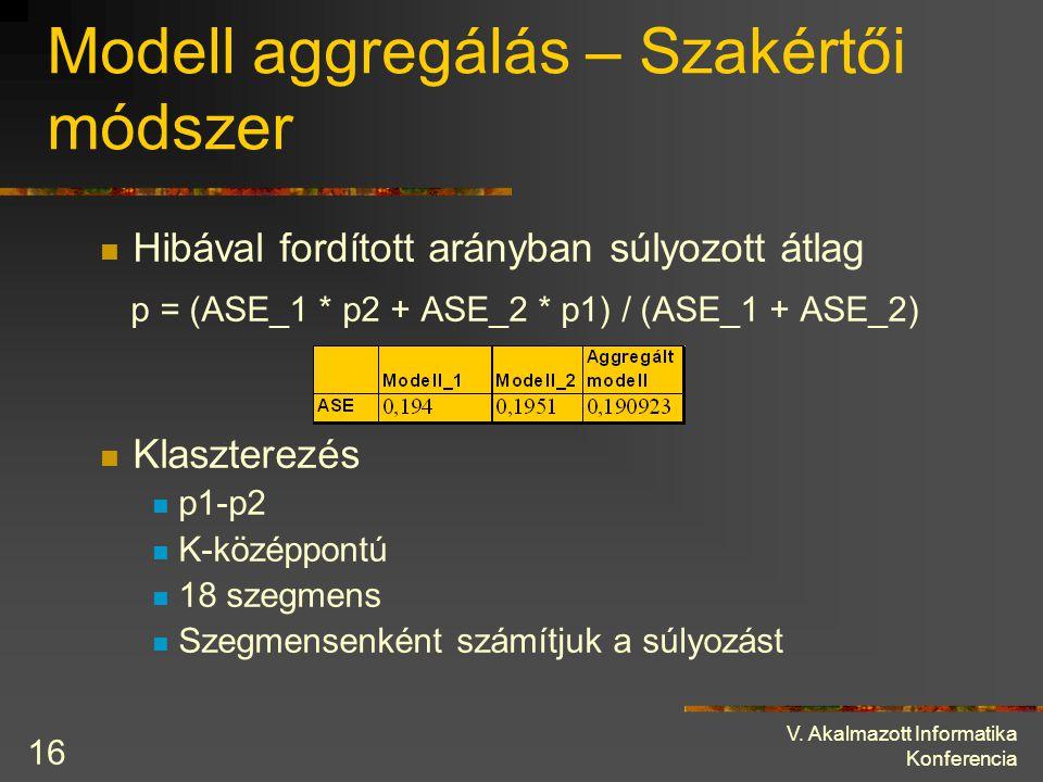 V. Akalmazott Informatika Konferencia 16 Modell aggregálás – Szakértői módszer Hibával fordított arányban súlyozott átlag p = (ASE_1 * p2 + ASE_2 * p1